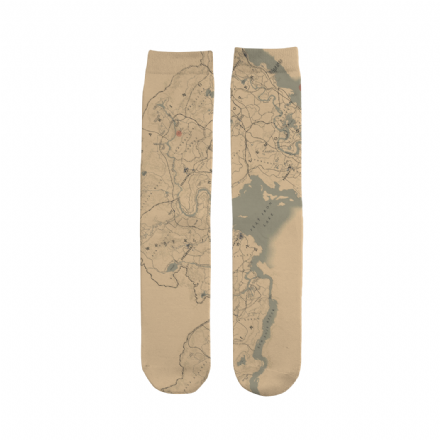 Unisex Subli Tube Socks Western Video Game Red Dead Redemption 2 Map Design